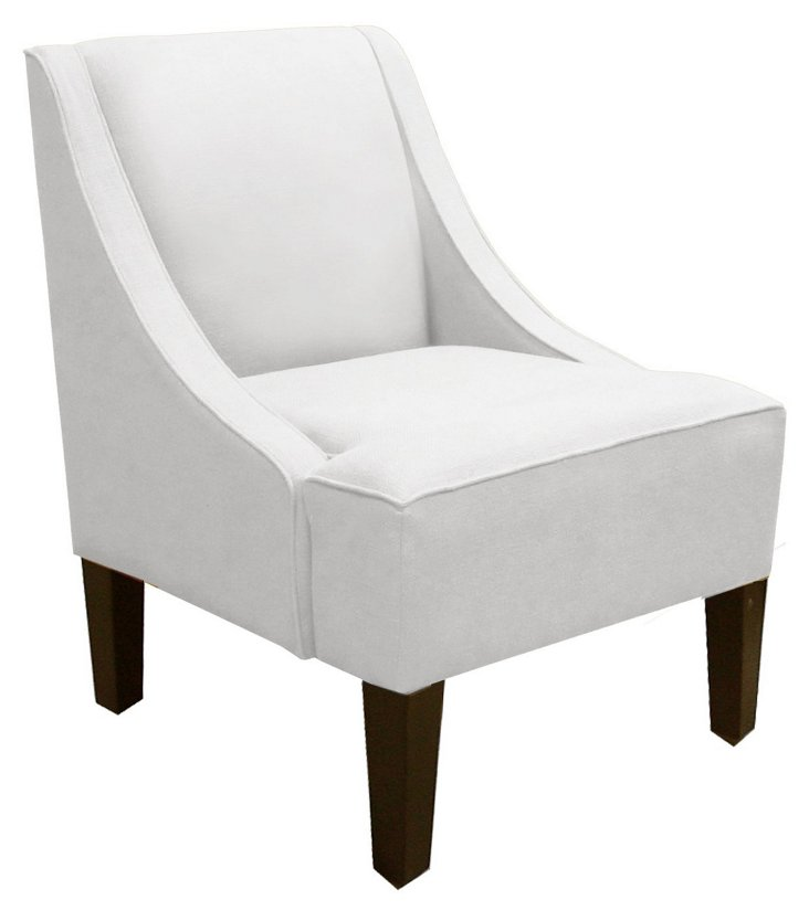 Fletcher Swoop-Arm Chair, Twill White