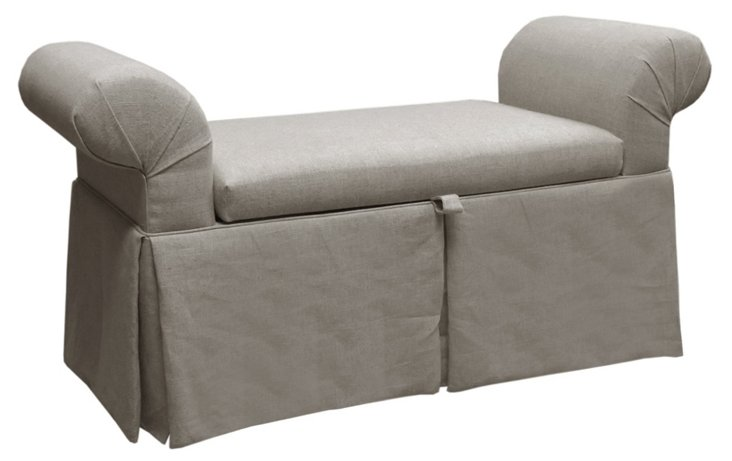 Mara Roll-Arm Storage Bench, Gray