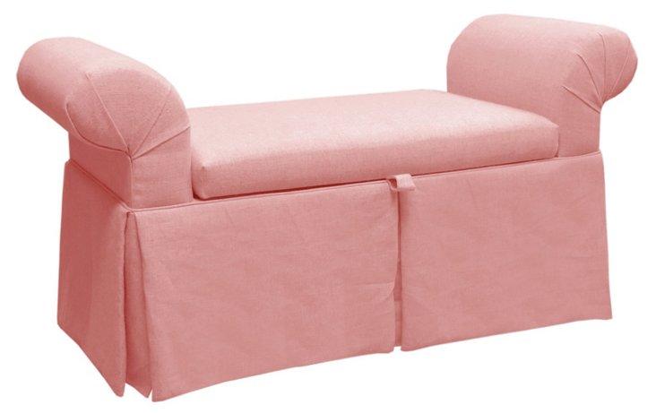 """Mara 51"""" Roll-Arm Storage Bench, Pink"""