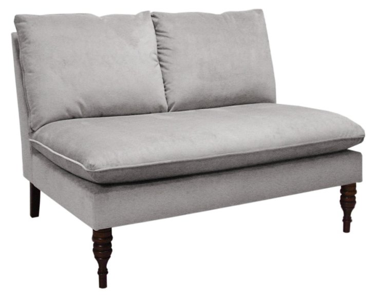 "Bacall 49"" Settee, Light Gray Velvet"