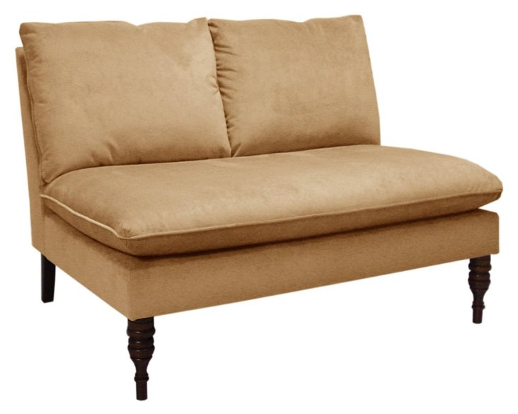 Bacall Armless Settee, Honey