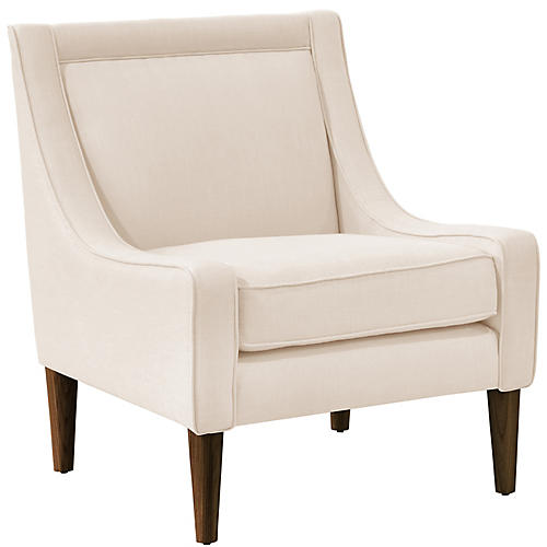 Scarlett Swoop-Arm Chair, Talc