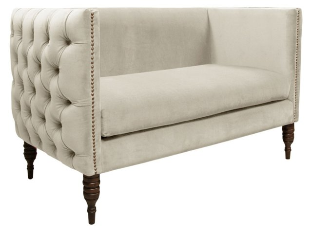 Elizabeth Tufted Settee, White