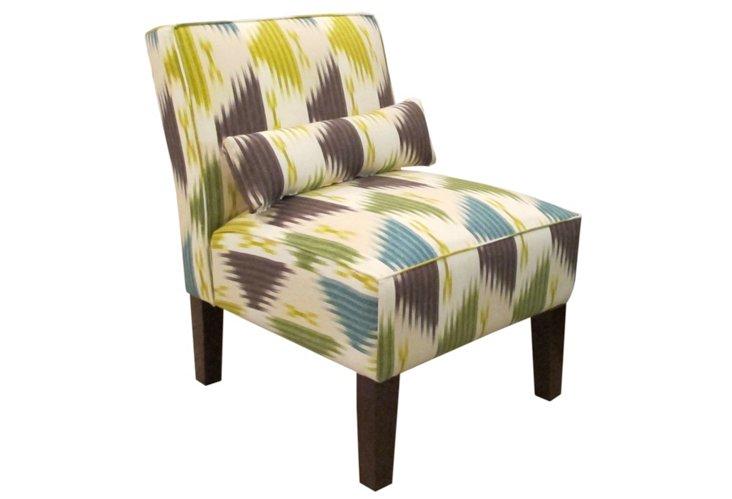 Bergman Armless Chair, Emerald/Multi