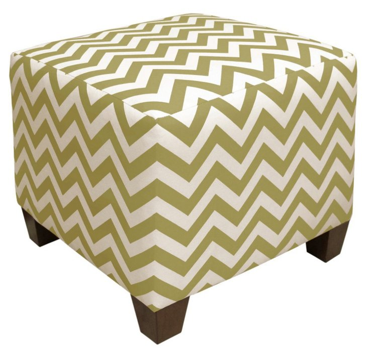 Berit Square Ottoman, Green/White