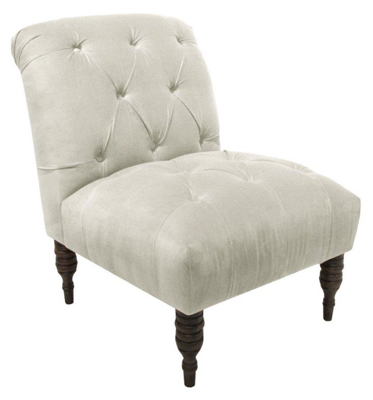 Eloise Armless Chair, Velvet White