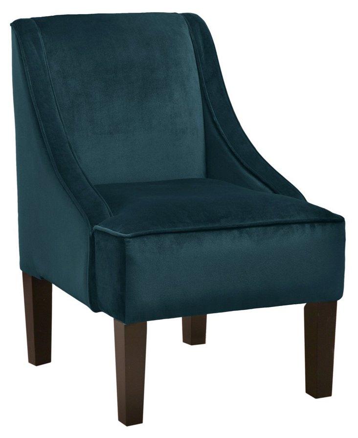 Quinn Swoop-Arm Chair, Dark Teal