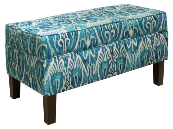 "Breene 39"" Storage Bench, Teal Ikat"