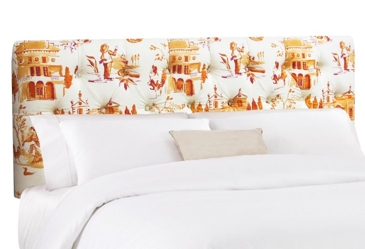 Ella Headboard, Orange/White