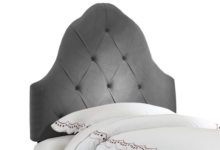 Charcoal Arch Tufted Headboard, Twin