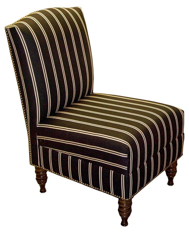 Geiger Armless Chair, White Stripe