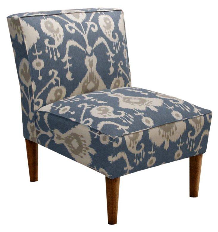 Finnegan Armless Chair, Blue/Cream