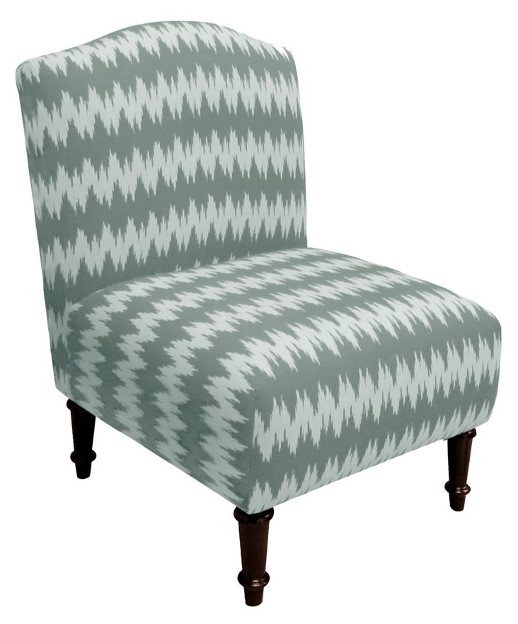 Clark Chair, Pewter/Light Blue