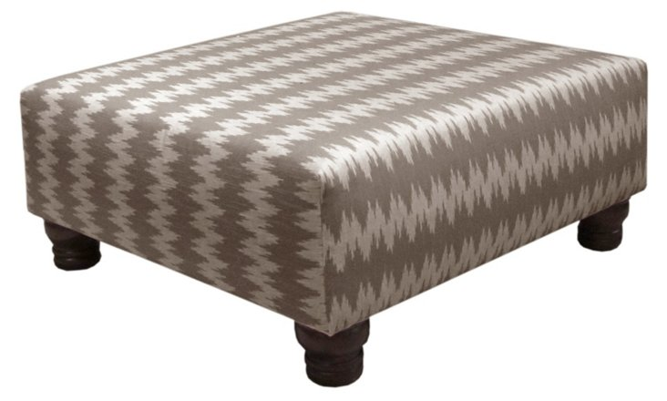 Barnes Cocktail Ottoman, Mocha/White