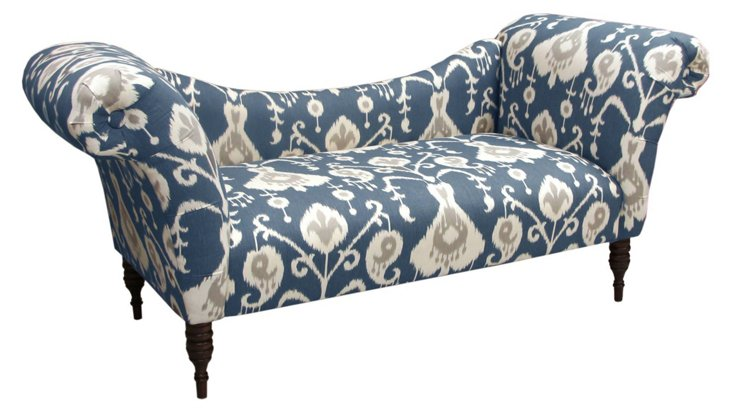 Cameron Ikat Chaise, Navy/Cream