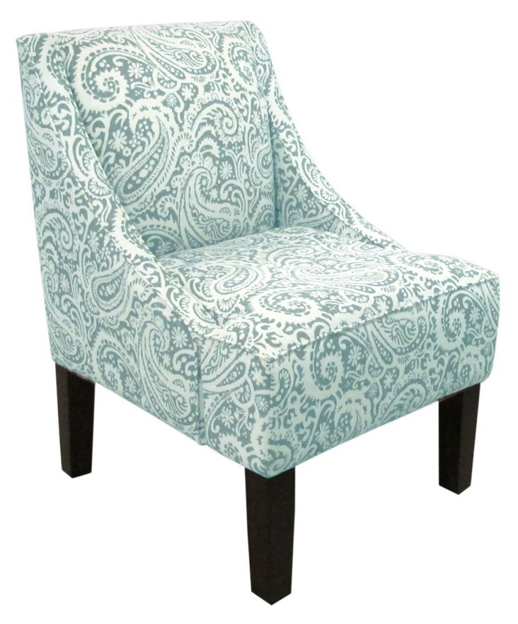 Fletcher Swoop-Arm Chair, Turquoise