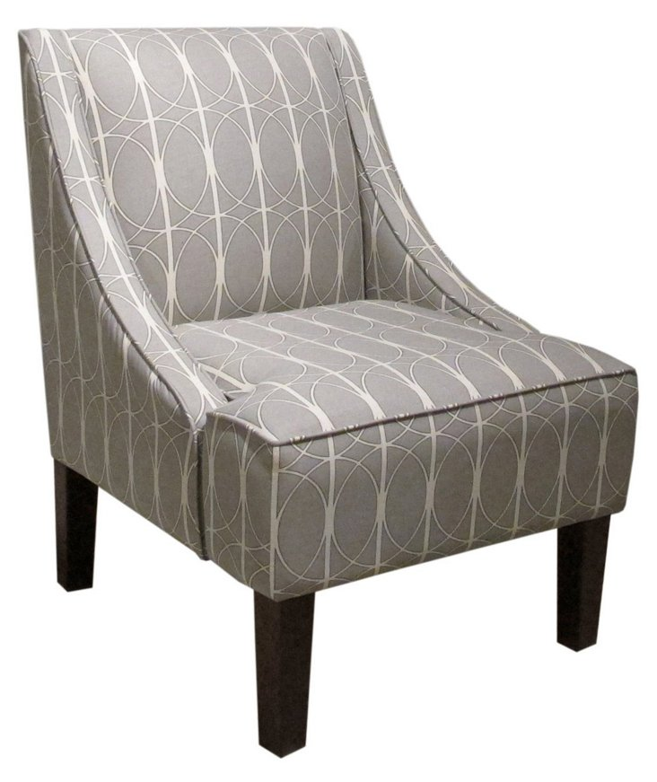 Fletcher Swoop-Arm Chair, Gray Geo