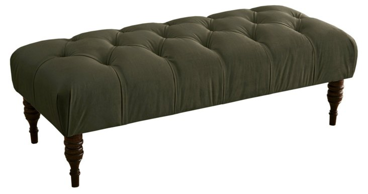 """Stanton 50"""" Tufted Bench, Moss"""
