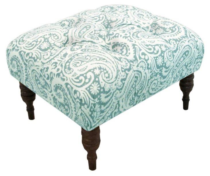 Boyd Tufted Ottoman, Turquoise/White