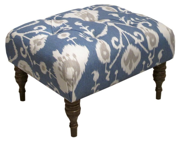 Boyd Tufted Ottoman, Navy/Cream