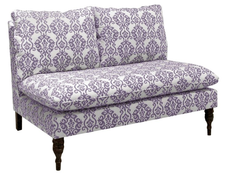"Bacall 49"" Armless Cotton Settee, Lilac"