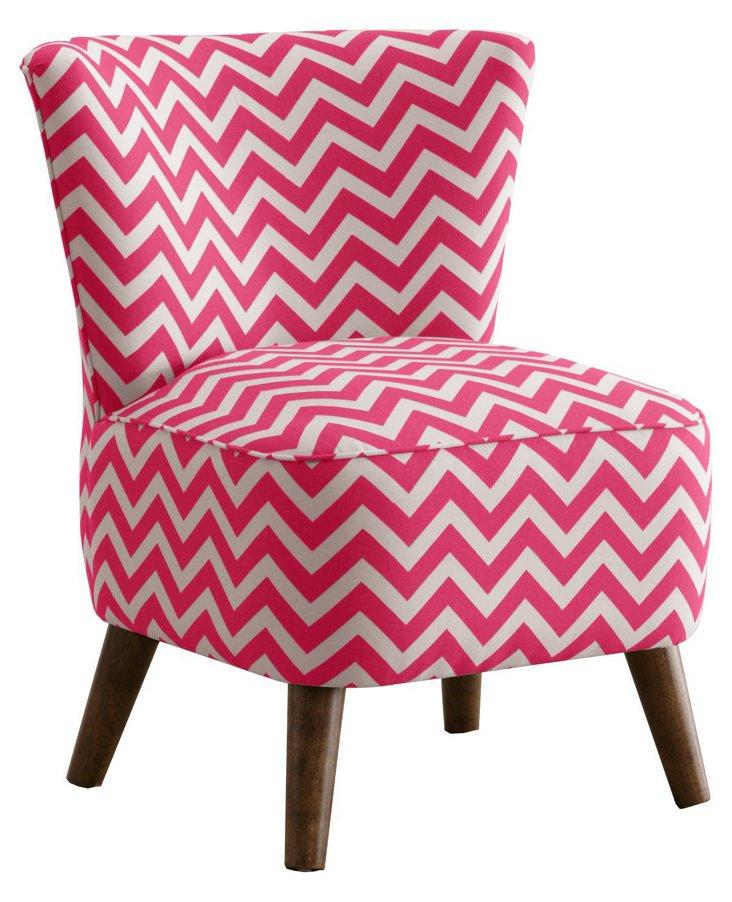 Barnes Chevron Chair, Turquoise/White