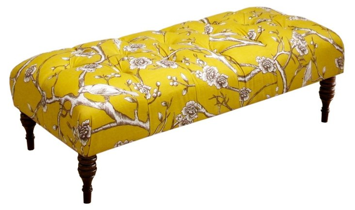 "Stanton 50"" Tufted Bench, Yellow Cherry"