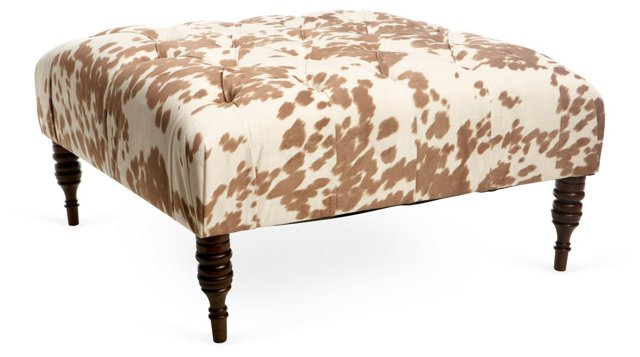 Elliot Cocktail Ottoman, Camel/Cream