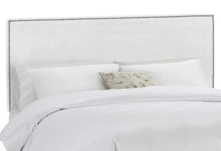 Loren Headboard, White Velvet