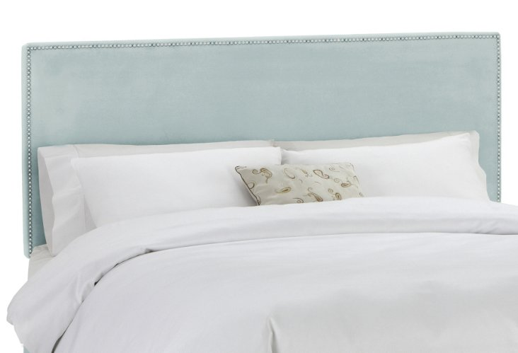 Loren Headboard, Light Aqua Velvet