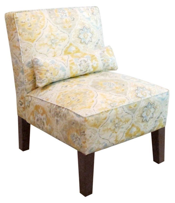 Bergman Armless Chair, Cream/Yellow