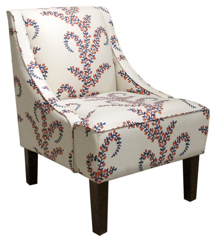Fletcher Swoop-Arm Chair, Red/Blue
