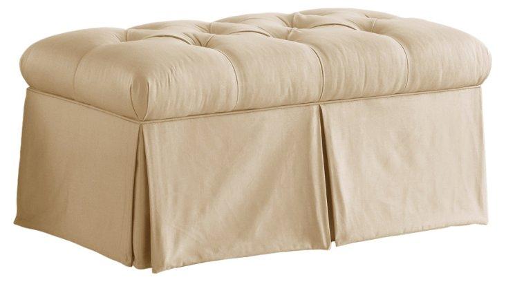 Olivia Cotton Storage Bench, Cream
