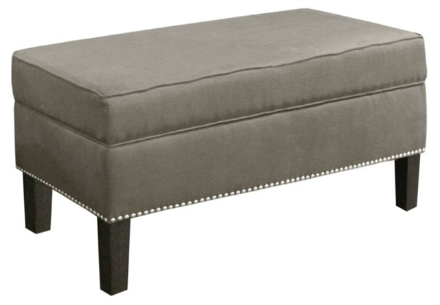 Dunne Storage Bench, Gray Twill