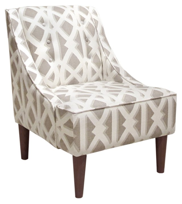 McCarthy Swoop-Arm Chair, White/Gray