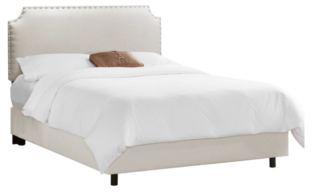 Ellis Nailhead Bed, Light Gray