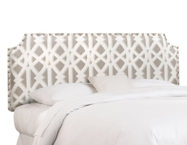 Gray/White Nailhead Headboard, Full