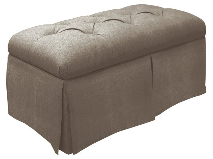 Olivia Skirted Storage Bench, Taupe Gray