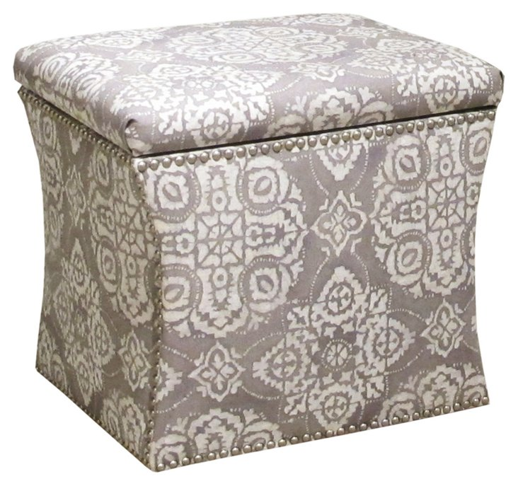 Merritt Storage Ottoman, Gray/White