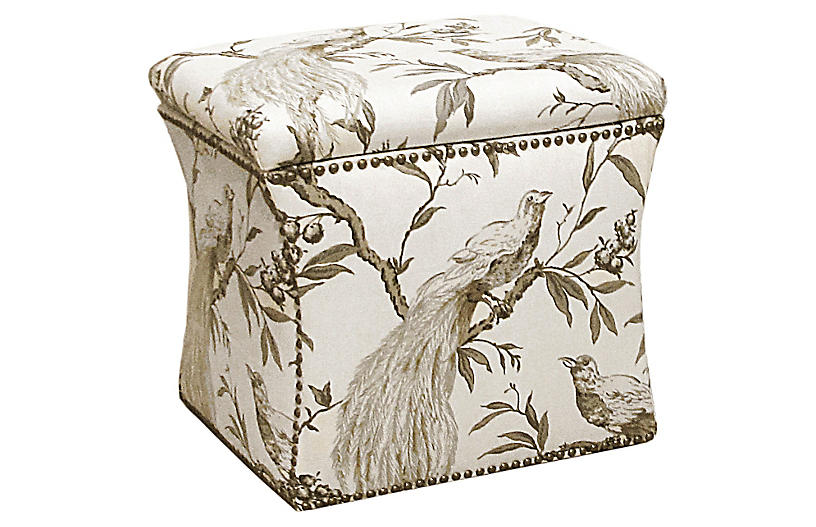 Merritt Storage Ottoman - Cream