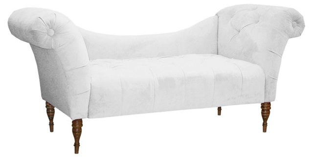 Cameron Chaise, White Velvet