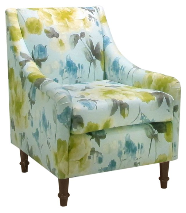 Holmes Swoop-Arm Chair, Blue/Green