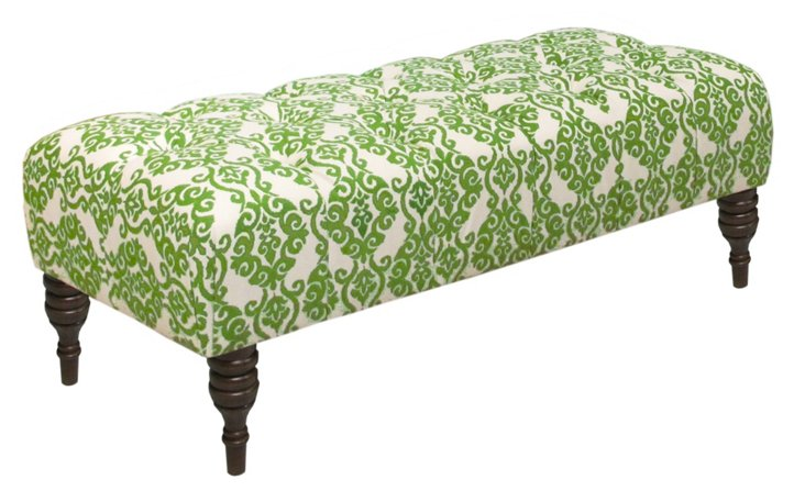 "Stanton 50"" Tufted Bench, Emerald/White"