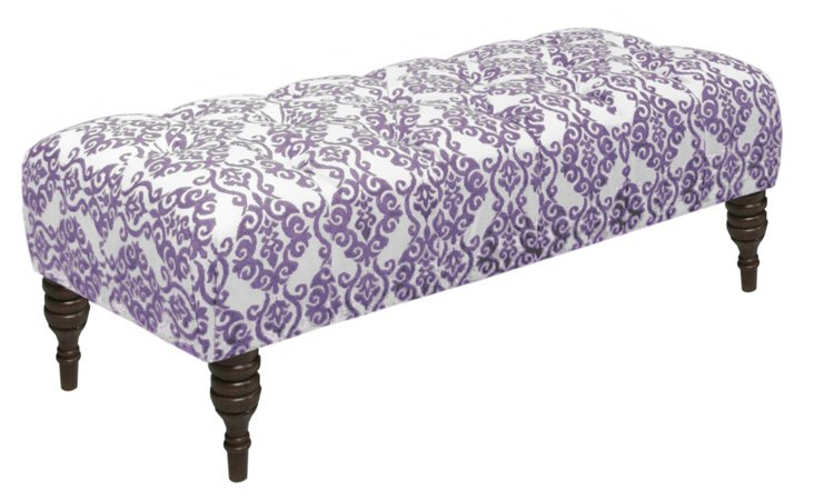 "Stanton 50"" Tufted Bench, Lilac"