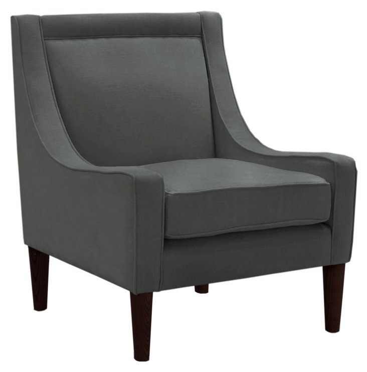 Scarlett Swoop-Arm Chair, Pewter