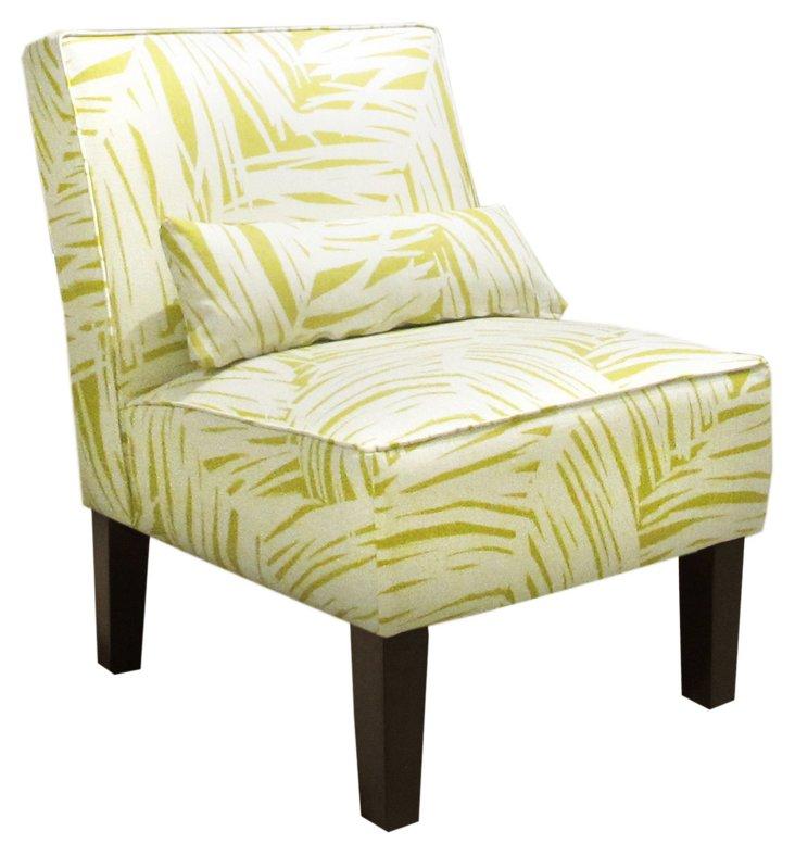 Bergman Armless Chair, Citrine/White