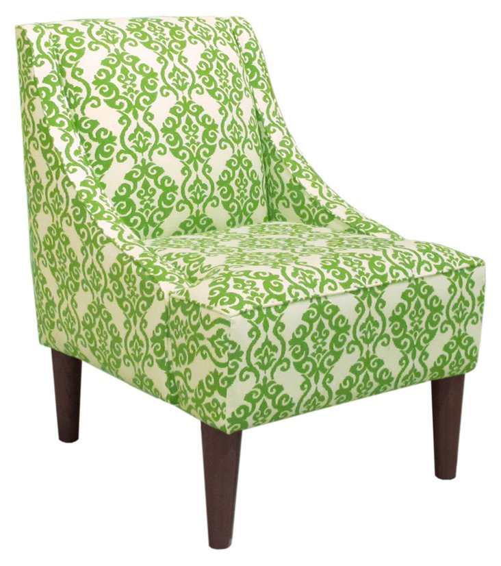 Quinn Swoop-Arm Chair, Apple Green