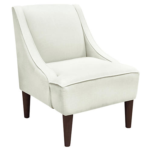 Quinn Swoop-Arm Accent Chair, Talc Linen