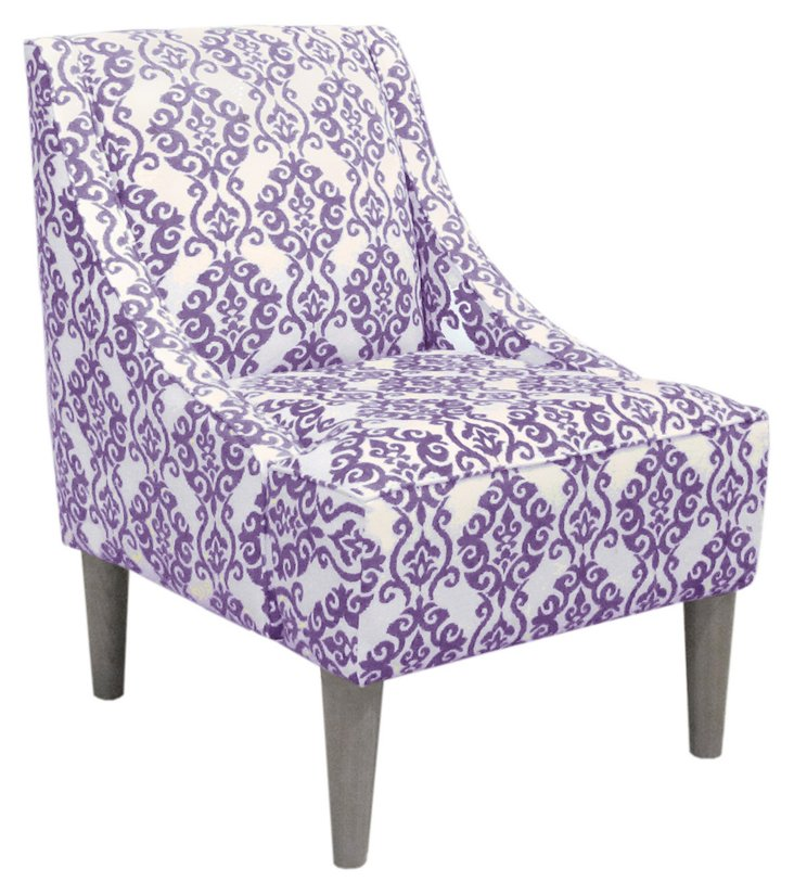 Quinn Swoop-Arm Chair, Lilac/White