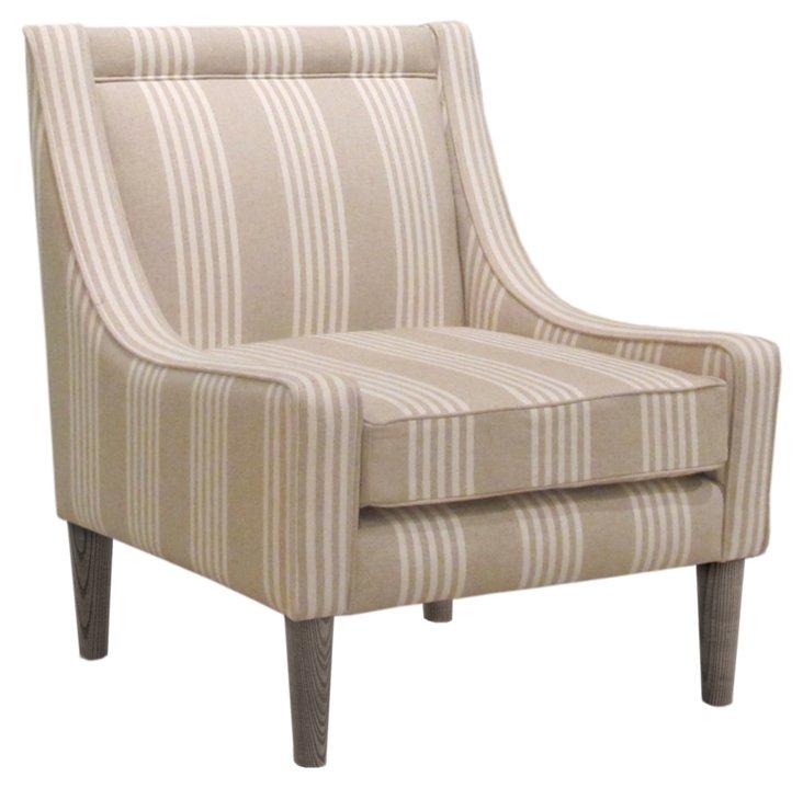 Scarlett Swoop-Arm Chair, Cream